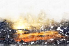 Abstract sunlight, sunrise in the morning on watercolor painting. Background vector illustration