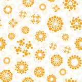 Abstract sunny seamless circles design pattern unusual. Vector  repeatable round shapes background. Universe. Futuristic metaball dots wallpaper Royalty Free Stock Images