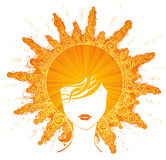 Abstract sunny woman. Summer portrait of woman isolated on white background Royalty Free Illustration