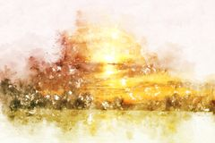 Abstract sunrise in the morning on watercolor painting. Abstract sunlight, sunrise in the morning on watercolor painting background vector illustration