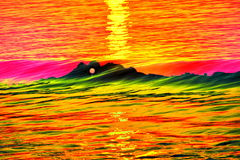 Abstract of sunrise. Sunrise on the mountain with beautiful waves Stock Image