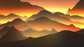 Abstract Sunrise Mountains Golden Hour - Vector Illustration. Abstract Sunrise Mountains Golden Hour Stock Images