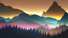 Abstract Sunrise Mountains with Lake and Pine Forest   Royalty Free Stock Photography