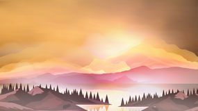 Abstract Sunrise Mountains with Lake and Pine Forest - Vector Il Stock Photo