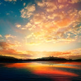 Abstract sunset background with forest lake Royalty Free Stock Photography