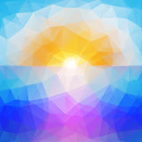 Abstract sunset background, triangle design vector Royalty Free Stock Images