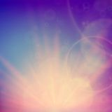 Abstract Sunset on sky with lenses flare. Stock Images