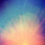 Abstract Sunset on sky with lenses flare. Stock Image
