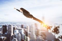 Abstract super hero businesswoman stock photo