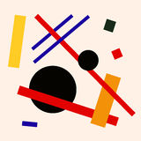 Abstract suprematism composition, square flat illustration Stock Photo