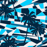 Abstract surf pattern with palm trees seamless pattern Stock Photos