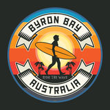 Abstract surfer stamp or sign text Byron Bay, Australia Stock Images