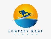 Abstract surferembleem op een witte achtergrond Royalty-vrije Stock Foto