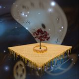 Abstract surreal. Field floats in symbolic background with burning ring and melting Royalty Free Stock Photo