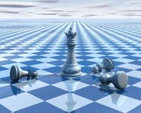 Abstract surreal background with blue chess and chessboard Stock Photo