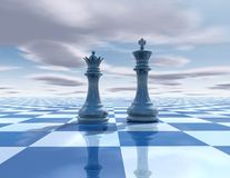 Abstract surreal background with chess figures Stock Photography