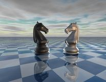Abstract surreal background with chess horses, chessboard and sky, challenge concept. Abstract surreal background with chess horses, chessboard and cloudy sky vector illustration
