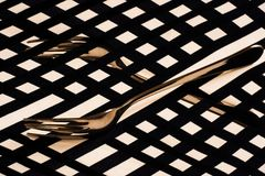 Abstract surreal background of forks and geometric stripes, photo Stock Photos