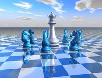 Abstract surreal illustration with chess pieces Royalty Free Stock Image
