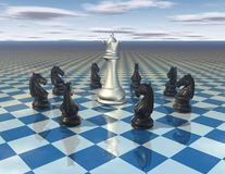 Abstract surreal illustration with chess pieces and chess board Royalty Free Stock Image