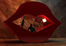 Abstract surreal interior and couple into open lips Royalty Free Stock Images
