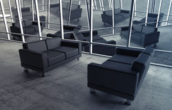 Abstract surreal office interior with black sofas Royalty Free Stock Image