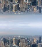 Abstract surreal upside down view of city skyline. Sci-Fi concep. T Stock Photo