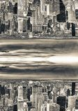Abstract surreal upside down view of city skyline. Sci-Fi concep. T Stock Image