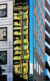 Almost abstract or surreal view of reflections and angles of urban buildings illustrations stock photography