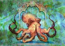 Abstract surreal watercolor backdrop with a meditating octopus. Beautiful painted hand drawn art images for backgrounds and banners royalty free illustration