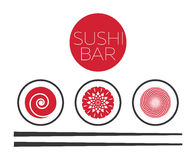 Abstract sushi bar food logo vector template. Asian seafood, roll fresh illustration Stock Image