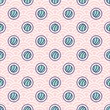 Abstract sushi rolls seamless vector pattern on japanese wave background. Abstract sushi rolls seamless vector pattern on japanese wave pink background royalty free illustration