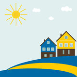 Abstract Swedish Flag With Traditional Houses, Clouds, Blue Sky And Sun Royalty Free Stock Photos