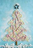 Abstract sweet christmas tree made from colorful mini marshmallo Royalty Free Stock Image