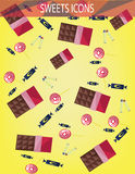 Abstract sweets icons set with candies, chocolate bars over an yellow background Royalty Free Stock Images