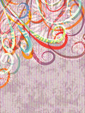 Abstract Swirl Flowers_eps. Illustration of abstract of swirl with flowers on grunge stripe background Stock Photos