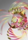 Abstract swirling ribbons. An abstract illustration of colorful streaks resembling ribbons, swirling about against a grayish background Stock Photography