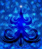 Abstract Swirls Christmas Tree on Blue Background. With Snowflakes Illustration Royalty Free Stock Photography