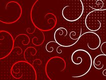 Abstract Swirls on a Red Background. An abstract illustration with swirls on a red background Vector Illustration