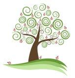 Abstract Swirly Apple Tree. Vector Illustration Stock Image