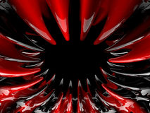 Abstract swirly atomic shape on black background. 3D Stock Photography