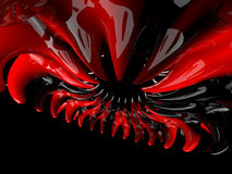 Abstract swirly atomic shape on black background. 3D Royalty Free Stock Image