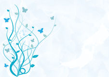 Abstract swirly background. Illustration of the swirly background in blue colour and with butterflies vector illustration