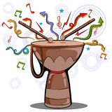 Abstract swirly musical background with Djembe Bongo Drum music instrument. In vector Stock Photography