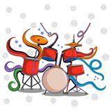 Abstract swirly musical background with Drum music instrument. In vector Stock Photo