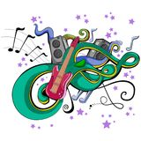 Abstract swirly musical background with Guitar music instrument. In vector Stock Image
