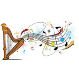 Abstract swirly musical background with Harp music instrument. In vector Royalty Free Stock Image