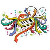 Abstract swirly musical background with Keyboard Synthesizer music instrument. In vector Stock Photo