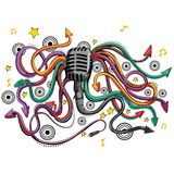Abstract swirly musical background with Microphone music equipment. In vector Stock Image