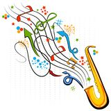 Abstract swirly musical background with Saxophone music instrument. In vector Stock Image